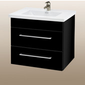 Wall-Hung Daytona 24'' Two Drawers Vanity for Kira/Autumn Ceramic Sink in Black Gloss with Polished Hardware