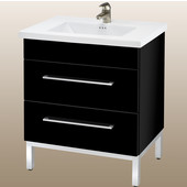 Daytona 24'' Two Drawers Vanity for Kira/Autumn Ceramic Sink in Black Gloss with Polished Frame & Hardware