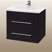 Wall-Hung Daytona 24'' Vanity for Kira/Autumn Ceramic Sink in Blackwood with Polished Hardware, 2 Drawers (Wall Mounting Hardware included)