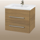 Wall-Hung Daytona 24'' Vanity for Kira/Autumn Ceramic Sink in Golden Wheat with Polished Hardware, 2 Drawers (Wall Mounting Hardware included)