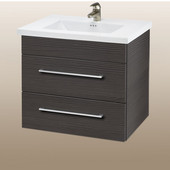 Wall-Hung Daytona 24'' Vanity for Kira/Autumn Ceramic Sink in Greyline Gloss with Polished Hardware, 2 Drawers (Wall Mounting Hardware included)
