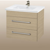 Wall-Hung Daytona 24'' Two Drawers Vanity for Kira/Autumn Ceramic Sink in Pickled Oak with Polished Hardware