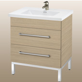 Daytona 24'' Two Drawers Vanity for Kira/Autumn Ceramic Sink in Pickled Oak with Polished Frame & Hardware