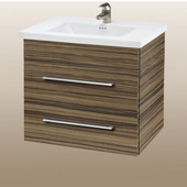 Wall-Hung Daytona 24'' Vanity for Kira/Autumn Ceramic Sink in Timber Gloss with Polished Hardware, 2 Drawers (Wall Mounting Hardware included)