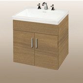 Wall-Hung Daytona 24'' Vanity for Tribeca Ceramic Sink in Golden Wheat with Polished Hardware, 2 Doors