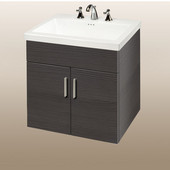 Wall-Hung Daytona 24'' Vanity for Tribeca Ceramic Sink in Greyline Gloss with Polished Hardware, 2 Doors