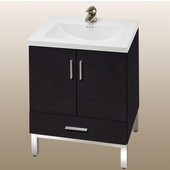 Daytona 24'' Vanity for Kira/Autumn Ceramic Sink in Blackwood with Polished Frame & Hardware, 2 Doors & 1 Bottom Drawer
