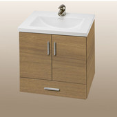 Wall-Hung Daytona 24'' Vanity for Kira/Autumn Ceramic Sink in Golden Wheat with Polished Hardware, 2 Doors & 1 Bottom Drawer (Wall Mounting Hardware included)