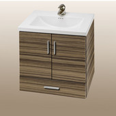 Wall-Hung Daytona 24'' Vanity for Kira/Autumn Ceramic Sink in Timber Gloss with Polished Hardware, 2 Doors & 1 Bottom Drawer (Wall Mounting Hardware included)