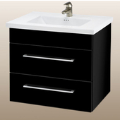 Wall-Hung Daytona 30'' Two Drawers Vanity for Kira/Autumn Ceramic Sink in Black Gloss with Polished Hardware