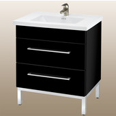 Daytona 30'' Two Drawers Vanity for Kira/Autumn Ceramic Sink in Black Gloss with Polished Frame & Hardware