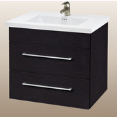 Wall-Hung Daytona 30'' Vanity for Kira/Autumn Ceramic Sink in Blackwood with Polished Hardware, 2 Drawers (Wall Mounting Hardware included)