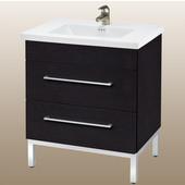 Daytona 30'' Vanity for Kira/Autumn Ceramic Sink in Blackwood with Polished Frame & Hardware, 2 Drawers