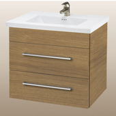 Wall-Hung Daytona 30'' Vanity for Kira/Autumn Ceramic Sink in Golden Wheat with Polished Hardware, 2 Drawers (Wall Mounting Hardware included)