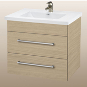Wall-Hung Daytona 30'' Two Drawers Vanity for Kira/Autumn Ceramic Sink in Pickled Oak with Polished Hardware
