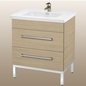 Daytona 30'' Two Drawers Vanity for Kira/Autumn Ceramic Sink in Pickled Oak with Polished Frame & Hardware