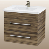 Wall-Hung Daytona 30'' Vanity for Kira/Autumn Ceramic Sink in Timber Gloss with Polished Hardware, 2 Drawers