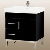 Daytona 30'' One Door And Two Side Drawers Vanity for Milano Ceramic Sink in Black Gloss with Polished Frame & Hardware