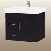 Wall-Hung Daytona 30'' Vanity for Milano Ceramic Sink in Blackwood with Polished Hardware, 1 Door & 2 Left Drawers (Wall Mounting Hardware included)
