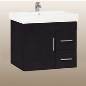 Wall-Hung Daytona 30'' Vanity for Milano Ceramic Sink in Blackwood with Polished Hardware, 1 Door & 2 Right Drawers (Wall Mounting Hardware included)
