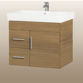 Wall-Hung Daytona 30'' Vanity for Milano Ceramic Sink in Golden Wheat with Polished Hardware, 1 Door & 2 Left Drawers (Wall Mounting Hardware included)