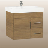 Wall-Hung Daytona 30'' Vanity for Milano Ceramic Sink in Golden Wheat with Polished Hardware, 1 Door & 2 Right Drawers (Wall Mounting Hardware included)