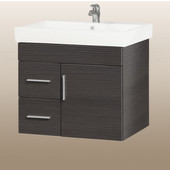 Wall-Hung Daytona 30'' Vanity for Milano Ceramic Sink in Greyline Gloss with Polished Hardware, 1 Door & 2 Left Drawers (Wall Mounting Hardware included)