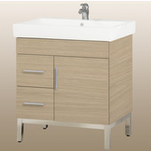 Daytona 30'' One Door And Two Side Drawers Vanity for Milano Ceramic Sink in Pickled Oak with Polished Frame & Hardware