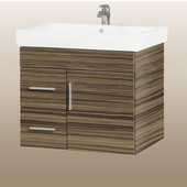 Wall-Hung Daytona 30'' Vanity for Milano Ceramic Sink in Timber Gloss with Polished Hardware, 1 Door & 2 Left Drawers (Wall Mounting Hardware included)