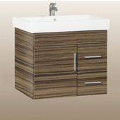 Wall-Hung Daytona 30'' Vanity for Milano Ceramic Sink in Timber Gloss with Polished Hardware, 1 Door & 2 Right Drawers (Wall Mounting Hardware included)