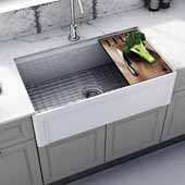 Empire Dorchester 30'' Wide Reversible Fireclay Farmhouse Single Bowl Sink with Cutting Board, Grid and Strainer, 30'' W x 18'' D x 10'' H