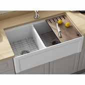 Empire Dorchester 33'' Wide Reversible Fireclay Farmhouse Double Bowl Sink with Cutting Board, Grid and Strainer, 33'' W x 18'' D x 10'' H