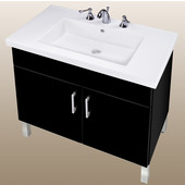 Empire Daytona 30'' Two Doors Vanity for Fiorella Ceramic Sink in Black Gloss with Polished Frame & Hardware