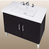 Empire Daytona 30'' Two Doors Vanity for Fiorella Ceramic Sink in Black Wood with Polished Frame & Hardware