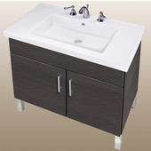 Empire Daytona 30'' Two Doors Vanity for Fiorella Ceramic Sink in Greyline Gloss with Satin Frame & Hardware