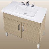 Empire Daytona 30'' Two Doors Vanity for Fiorella Ceramic Sink in Pickled Oak with Polished Frame & Hardware