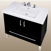 Empire Daytona 30'' Two Doors And One Bottom Drawer Vanity for Fiorella Ceramic Sink in Black Gloss with Satin Frame & Hardware