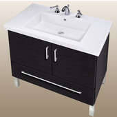 Empire Daytona 30'' Two Doors And One Bottom Drawer Vanity for Fiorella Ceramic Sink in Black Wood with Satin Frame & Hardware