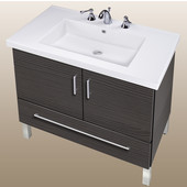 Empire Daytona 30'' Two Doors And One Bottom Drawer Vanity for Fiorella Ceramic Sink in Greyline Gloss with Polished Frame & Hardware