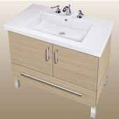 Empire Daytona 30'' Two Doors And One Bottom Drawer Vanity for Fiorella Ceramic Sink in Pickled Oak with Satin Frame & Hardware