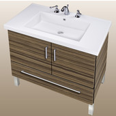 Empire Daytona 30'' Two Doors And One Bottom Drawer Vanity for Fiorella Ceramic Sink in Timber Gloss with Polished Frame & Hardware