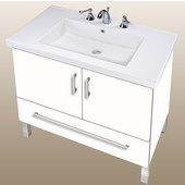 Empire Daytona 30'' Two Doors And One Bottom Drawer Vanity for Fiorella Ceramic Sink in White Gloss with Polished Frame & Hardware