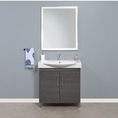 Daytona 2 Doors Bathroom Vanity for 34'' Ipanema Ceramic Sink Top in Greyline Gloss with Polished or Satin Leg Frame and Hardware