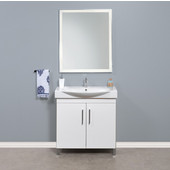 Daytona 2 Doors Bathroom Vanity for 34'' Ipanema Ceramic Sink Top in White Gloss with Polished or Satin Leg Frame and Hardware