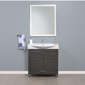 Daytona 2 Doors and 1 Bottom Drawer Bathroom Vanity for 34'' Ipanema Ceramic Sink Top in Greyline Gloss with Polished or Satin Leg Frame and Hardware
