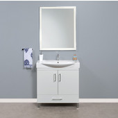 Daytona 2 Doors and 1 Bottom Drawer Bathroom Vanity for 34'' Ipanema Ceramic Sink Top in White Gloss with Polished or Satin Leg Frame and Hardware
