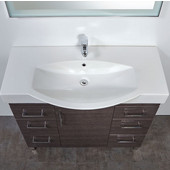 Daytona 1 Door and 6 Drawers Bathroom Vanity for 42'' Ipanema Ceramic Sink Top in Blackwood with Polished Leg Frame and Hardware