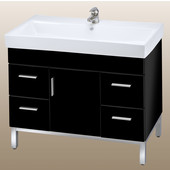 Daytona 40 One Center Door And Four Drawers Vanity for Milano Ceramic Sink in Black Gloss with Polished Frame & Hardware