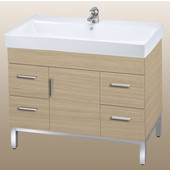 Daytona 40 One Center Door And Four Drawers Vanity for Milano Ceramic Sink in Pickled Oak with Polished Frame & Hardware