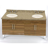Daytona 60'' Vanity for 6122 Double Bowl Cut-Out Stone Countertops with Multiple Finishes, Sink and Frame & Hardware Option